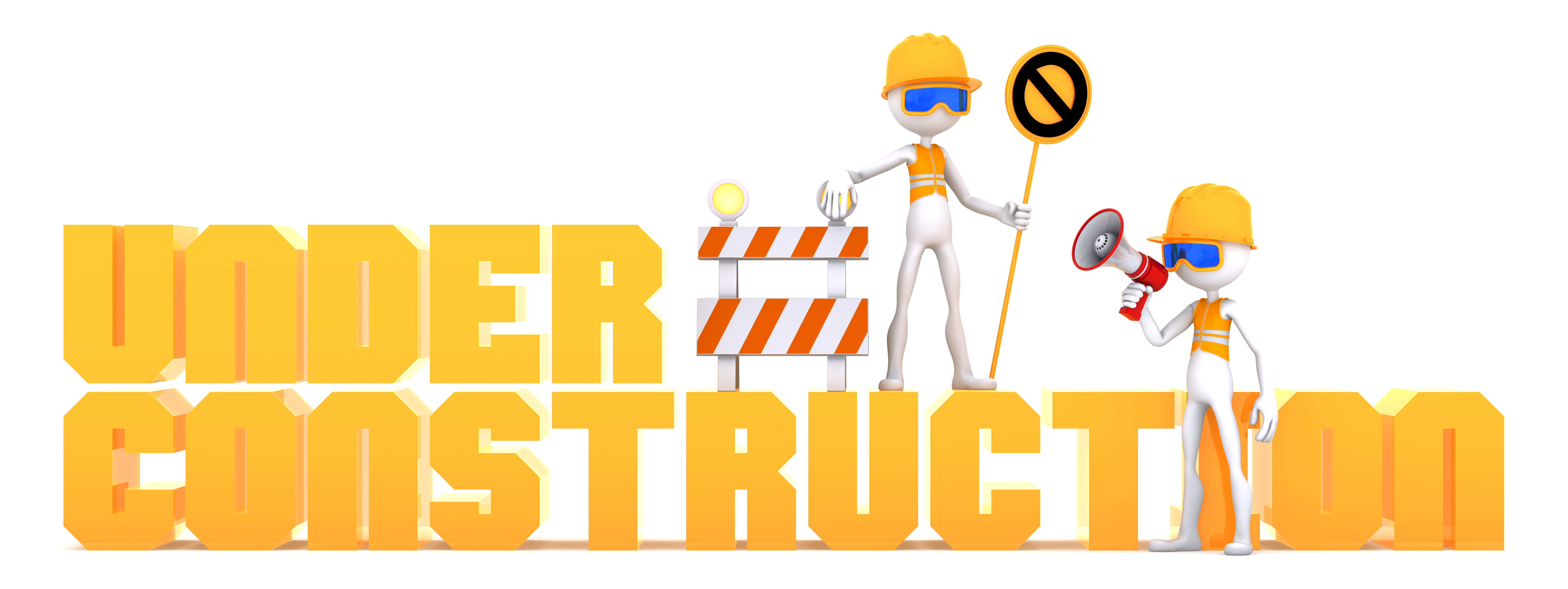 "Construction workers and orange ""under construction"" text sign"
